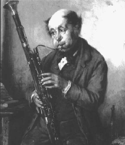 bassoonist caricature 19th C