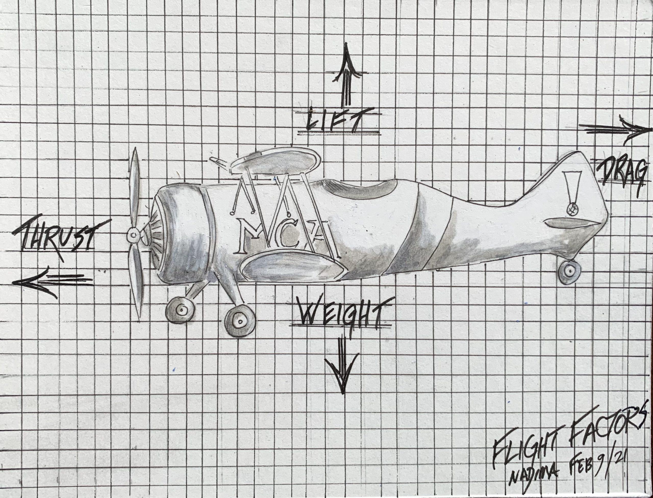 4 flight factors, thrust, drag, weight, lift, bi-plane