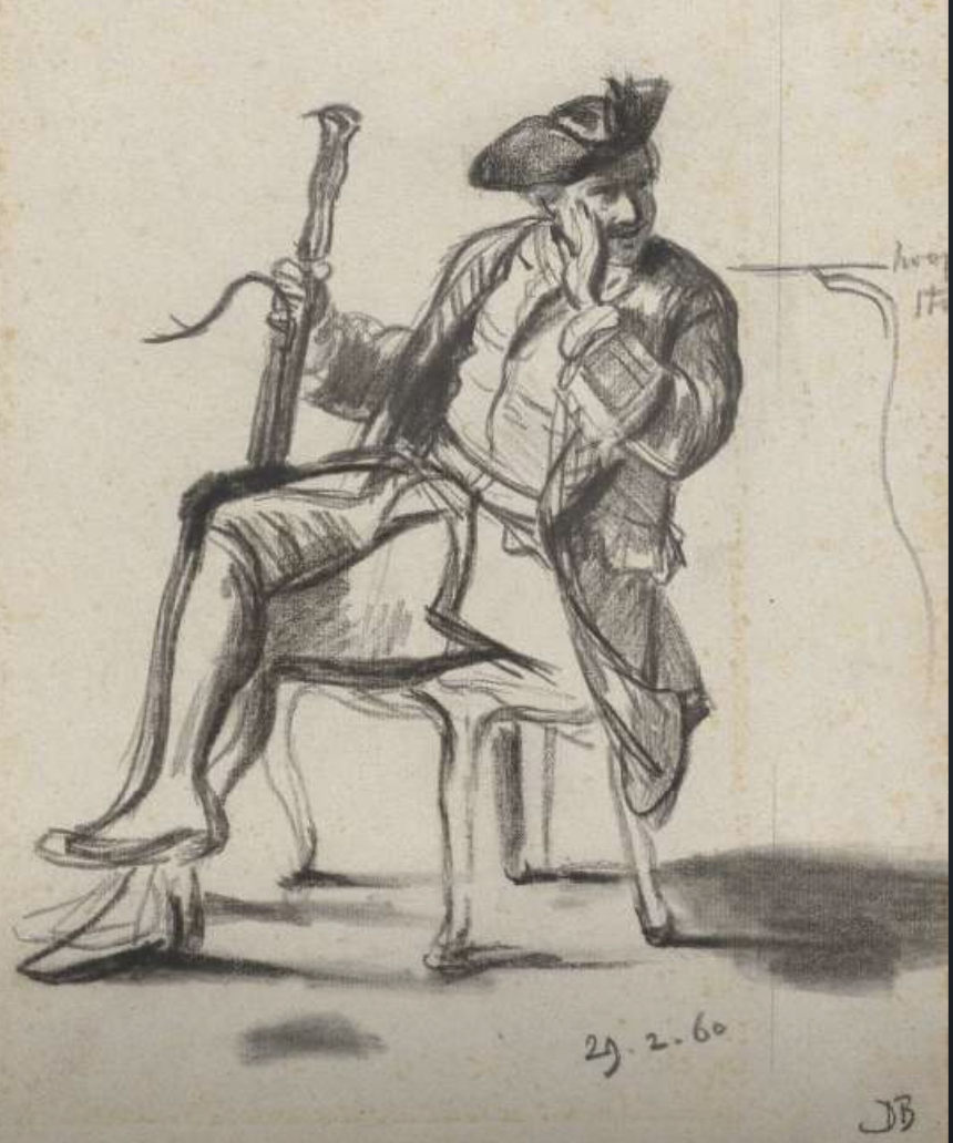 Bassoonist seated drawing